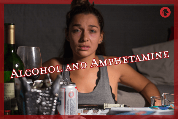 girl sitting next to table with alcohol and stimulants like amphetamine