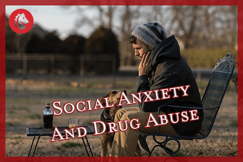 man suffering from social anxiety getting support from drugs and his dog